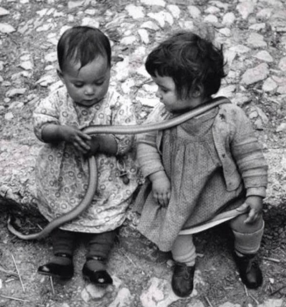 Two children with a snake. By David Seymour, Italy - 1951.
