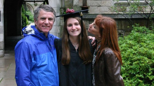 In the Picture: Kevin and Tracy Keegan kiss their daughter Marina at her graduation from Yale. Image Credits: ABC News